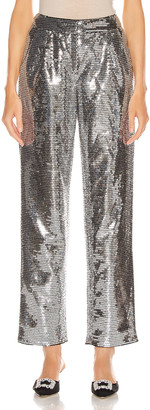 Rasario Sequined Cigarette Pant in Silver | FWRD