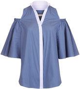 CO/MUN Pale Blue Stripe Cold Shoulder Shirt