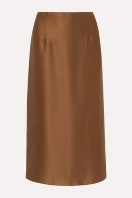 Vince Silk-satin Midi Skirt - Brown
