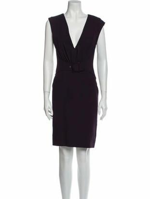 Valentino V-Neck Knee-Length Dress Purple