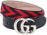 Gucci Woven Cotton & Leather Belt