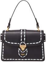 Moschino Leather Stitch-Print Medium Satchel Bag