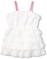 Juicy Couture Eyelet Ruffle Dress (Toddler/Little Kids/Big Kids) (White) - Apparel
