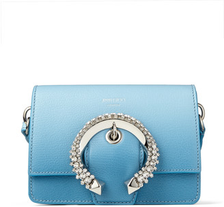 Jimmy Choo MADELINE SHOULDER/S Sky-Blue Degrade Goat Leather Shoulder Bag with Crystal Buckle