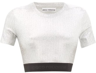 Paco Rabanne Logo-hem Lame Cropped Top - Womens - Silver