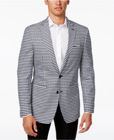 Tallia Men's Slim-Fit Navy and White Gingham Cotton Sport Coat