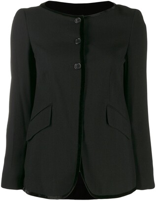 Romeo Gigli Pre Owned 1990's contrast piping collarless jacket