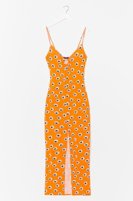 Nasty Gal Womens O RING FLORAL STRAPPY MAXI DRESS - Orange