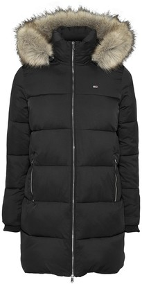 Tommy Jeans Long Padded Puffer Jacket with Faux Fur Hood