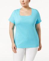 Karen Scott Plus Size Cotton Square-Neck T-Shirt, Only at Macy's