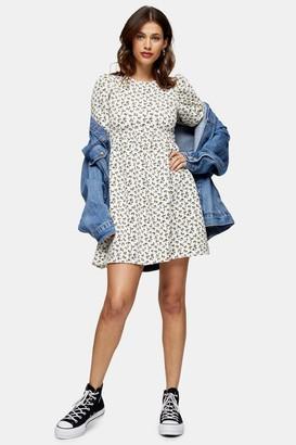 Topshop Womens Ditsy Babydoll Puff Sleeve Dress - Multi