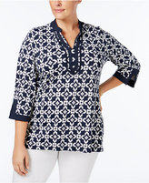 Charter Club Plus Size Printed Tunic, Only at Macy's