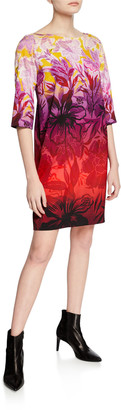 Fuzzi Ombre Floral Degrade-Print 3/4-Sleeve Boxy Shift Dress