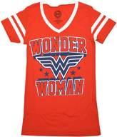 DC Comics Wonder Woman Blue Logo Women's Junior Varsity V-Neck T-Shirt