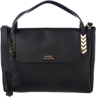 Versace Chevron Leather Satchel