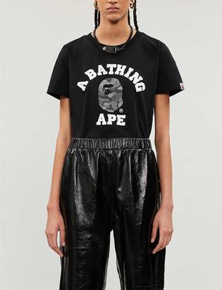BAPE ABC Dot College reflective-print cotton-jersey T-shirt