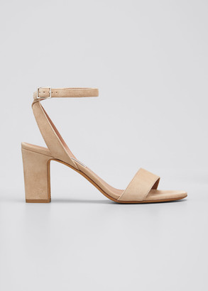 Tabitha Simmons Leticia Suede Ankle-Wrap Sandals, Beige