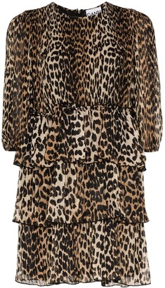 Ganni Leopard Print Georgette Mini Dress