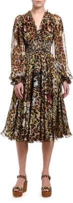 Dolce & Gabbana Leopard-Print Chiffon V-Neck Dress