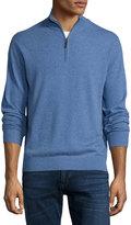 Neiman Marcus Cashmere Zip-Neck Sweater, Denim