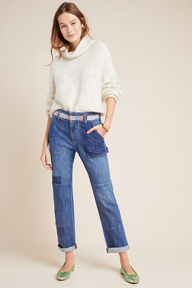 Pilcro And The Letterpress Pilcro High-Rise Patchwork Slim Boyfriend Jeans By in Blue Size 28