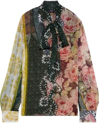 Oscar de la Renta Pussy-bow Printed Silk-chiffon Blouse
