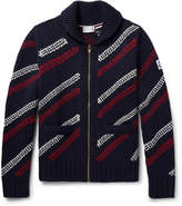 Moncler Gamme Bleu Jacquard-Knit Wool Zip-Up Cardigan