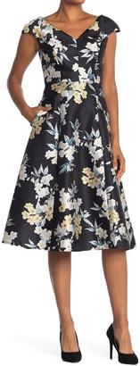 Maggy London Floral V-Neck Cocktail Dress