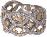 Alor 18K White Gold & 18K Yellow Gold Pave Diamond Scalloped Band Ring - Size 6.5 - 0.80 ctw