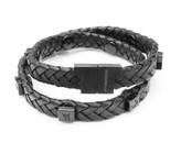 Tissuville Black Leather Wrap Tarmac Bracelet With Black Studs
