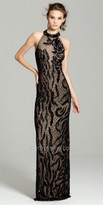 Camille La Vie Beaded Mock High Neck Evening Dress