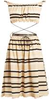 J.W.Anderson Off-the-shoulder striped cotton dress