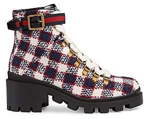 ca8dede1a5 Gucci Women's Trip Check Combat Boots