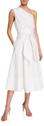 St. John Poplin One-Shoulder Midi Dress
