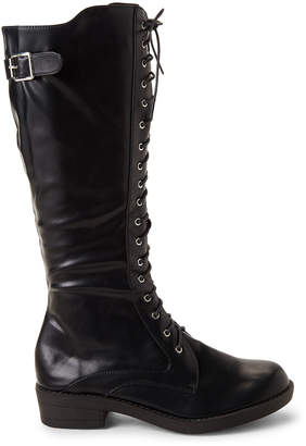 Wanted Black Infantry Lace-up Tall Boots