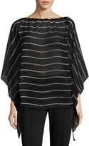 St. John Shirred-Side Striped Silk Poncho, Black/White