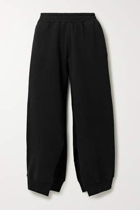 MM6 MAISON MARGIELA Cropped Cotton-jersey Track Pants - Black