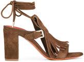 Santoni fringe block heel sandals - women - Leather - 36