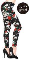 Banned Skull Roses Plus Size Leggings - /