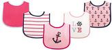 Luvable Friends Pink Nautical Fun Drooler Bib Set