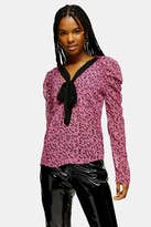 Topshop Womens Bow Front Contrast Tie Prairie Blouse - Pink