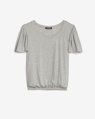 Express Heathered Banded Flutter Sleeve Tee