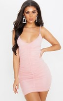 Limz Des Pink Strappy Mesh Ruched Front Bodycon Dress