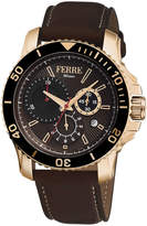 Ferré Milano Men's 44mm Stainless Steel Dive Watch with Calfskin Leather Strap, Gold/Brown