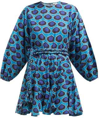 Rhode Resort Ella Ikat Print Flared Cotton Poplin Dress - Womens - Blue Print