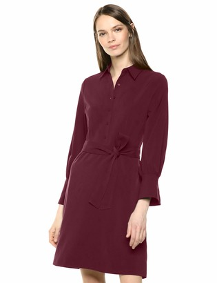 Lark & Ro Stretch Twill Fit and Flare Tie Waist Shirt Dress Zinfandel 12