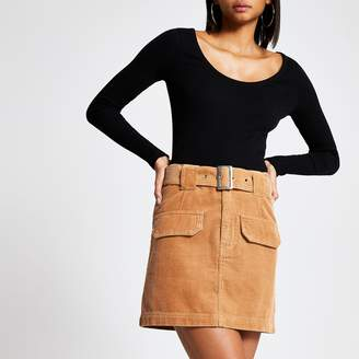River Island Womens Brown belted cord mini skirt