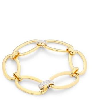 Alberto Milani Via Senato 18K Yellow Gold & Diamond Oval Link Bracelet
