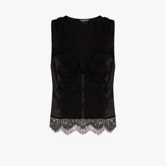 Tom Ford Lace Panel Stretch Silk Top