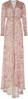 Luisa Beccaria Floral Bottoncini Long Sleeve Dress